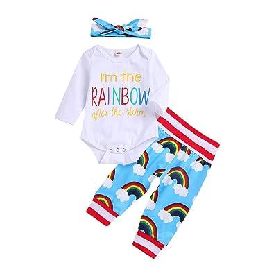 00410f4026b29 Amazon.com  GoodLock Baby Boys Girls Fashion Clothes Set Newborn Infant  Rainbow Letter Romper Tops Pants Headband Outfit 3Pcs  Clothing