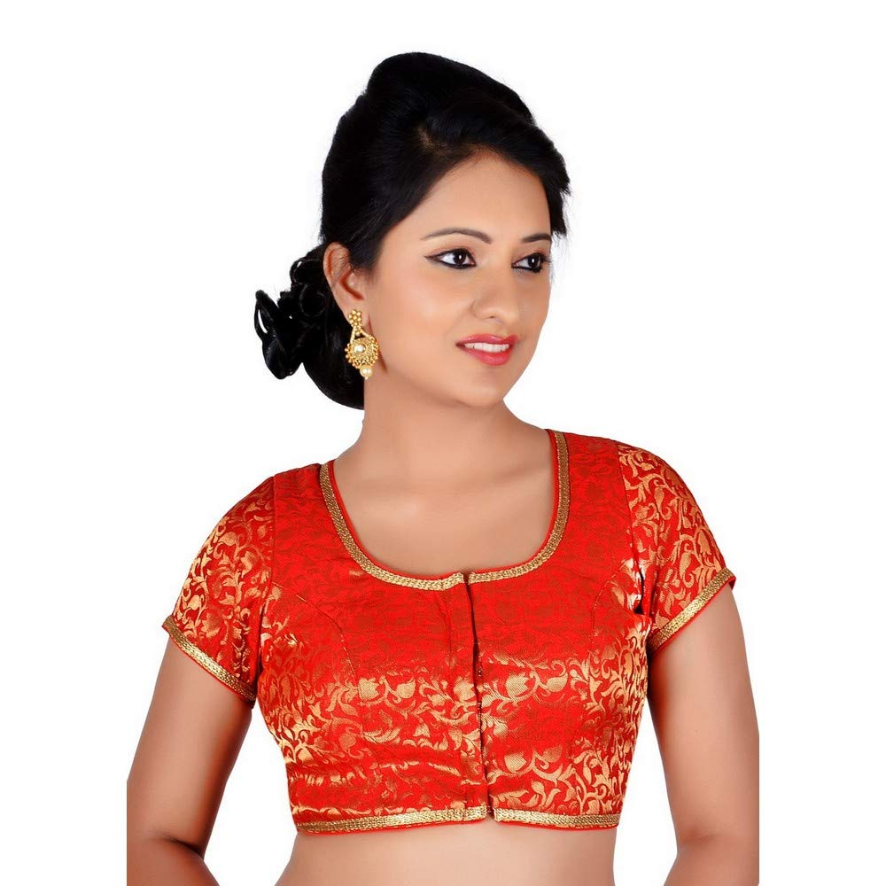 Red Designer Indian Traditional Brocade Silk Padded Cap Sleeves Saree Blouse Choli (Co86B) Multiple colors Available