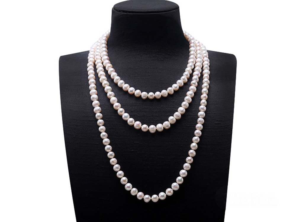 JYX Round Natural White 8-9mm Freshwater Pearl Necklace Endless Long Sweater Necklace 64'' by JYX Pearl (Image #2)