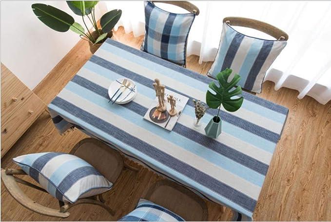 Imagen deJKCloth Mantel Tejido de Algodón y Lino Lavable Antimanchas Mantel Tablecloth para Decoración del Hogar Cocina Oficinas Uso Interior y al Aire Libre Rayas Impermeables Azul 140 * 140cm