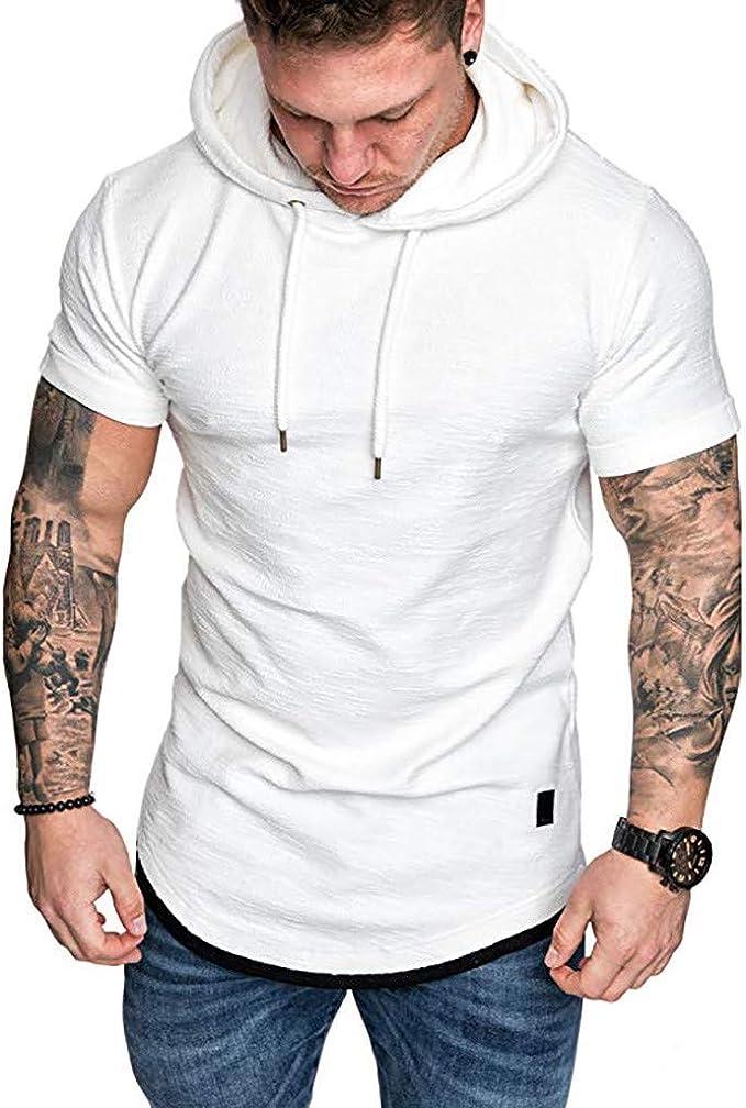 Luckycat Camiseta de Deporte Hombre Sudadera con Capucha Camisas de Tirantes Mangas Corta Ropa Fitness Hombre Gym Manga Corta Verano Hooded Tops sin Tirantes Sweatshirt: Amazon.es: Ropa y accesorios