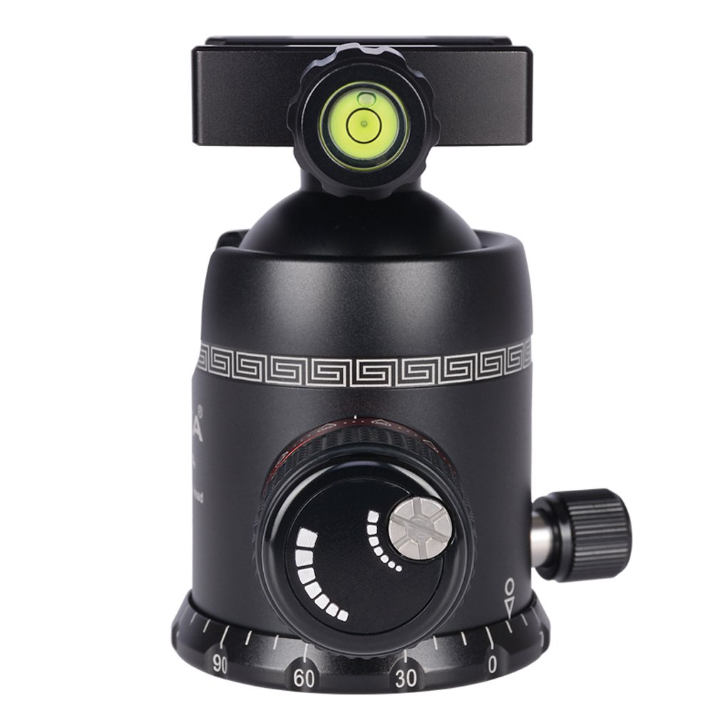 AOKA tripod ball head 360 degree fluid rotation panoramic alluminium alloy heavy duty ballhead KK44 tripod head with quick release plate by AOKA (Image #4)
