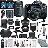Canon EOS Rebel 77D DSLR Camera with EF-S 18-55mm f/4-5.6 & EF-S 55-250mm f/4-5.6 IS STM Lens and 2 X 32GB, 58mm Telephoto & Wide-Angle Lens, Filters, Tripods, Flash, Remote, Xpix Lens Accessories