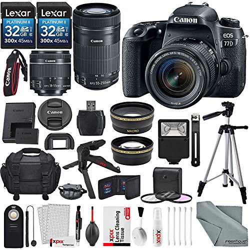 Price comparison product image Canon EOS Rebel 77D DSLR Camera with EF-S 18-55mm f/4-5.6 & EF-S 55-250mm f/4-5.6 IS STM Lens and 2X 32GB, 58mm Telephoto & Wide-Angle Lens, Filters, Tripods, Flash, Remote, Xpix Lens Accessories