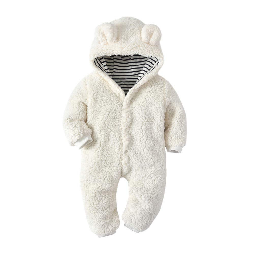 Moonuy Baby Hooded Fleece Romper Snowsuit Newborn Baby Boys Girls Cartoon Bear Ears Warm Fleece Hooded Romper Jumpsuit Fall Winter Outwear Outfits Outfit Coat Climbing Clothing