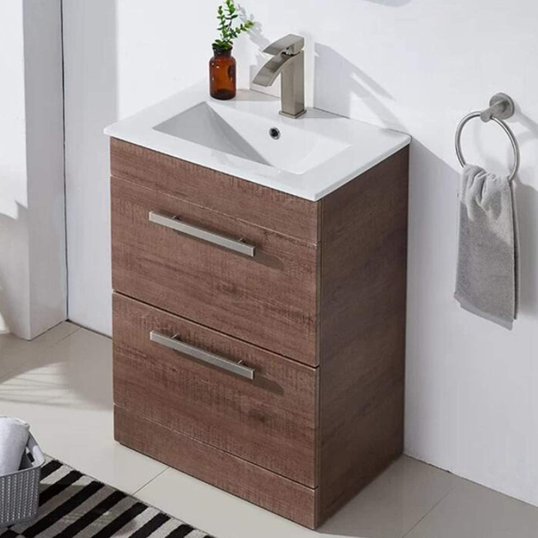 Modern Design 24 Brown Wood Stand Bathroom Vanity For Small Space Bathroom Sink Vanity Combo Cabinet Set With Countertop Ceramic Vessel Sink Bathroom Vanities Tools Home Improvement Guardebem Com
