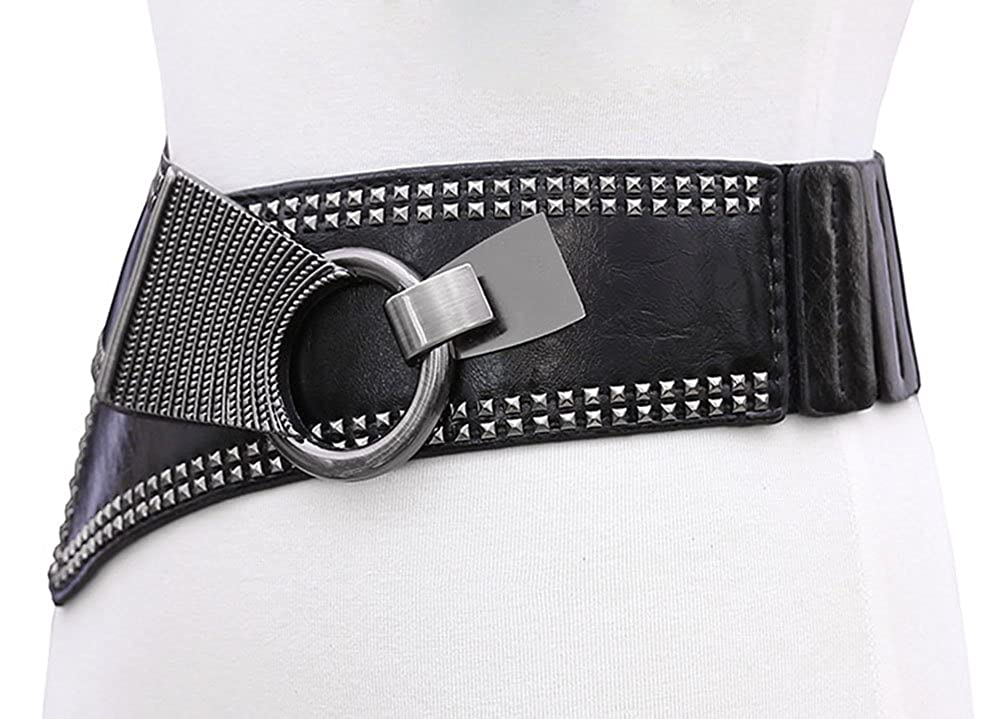 UIYTR Steampunk Style High Elastic Waist Belt for Women Wide Elastic Waistband With Punk Rivets Studs