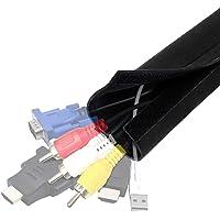 Cache Cable Rangement Cache-Câbles Flexible YOSH (203 cm) pour Ranger et Regrouper Les Câbles Gaine de Câble TV/Ordinateur/USB/Audio/Video/Box etc.Organisateur et Protecteur des Câbles – Noir Velcro