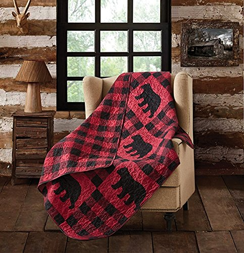 Virah Bella Buffalo Plaid Rustic Black Bear Quilt Throw Blanket (Red, Black)