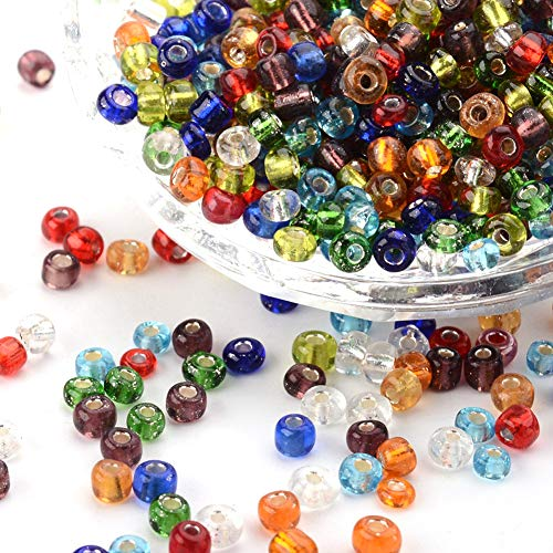 (Craftdady 6/0 4mm Rainbow Mixed Colors Glass Silver Lined Round Hole Pony Seed Beads for DIY Jewelry Craft Making About 4500pcs/Pound)