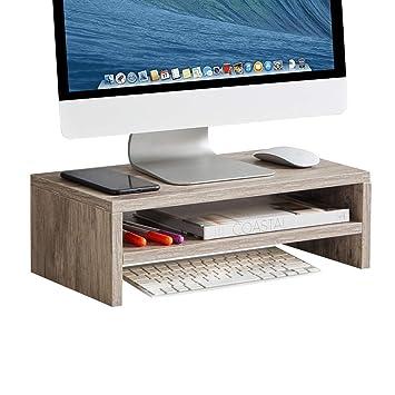 Sunon - Soporte para monitor de 2 niveles de madera, organizador ...