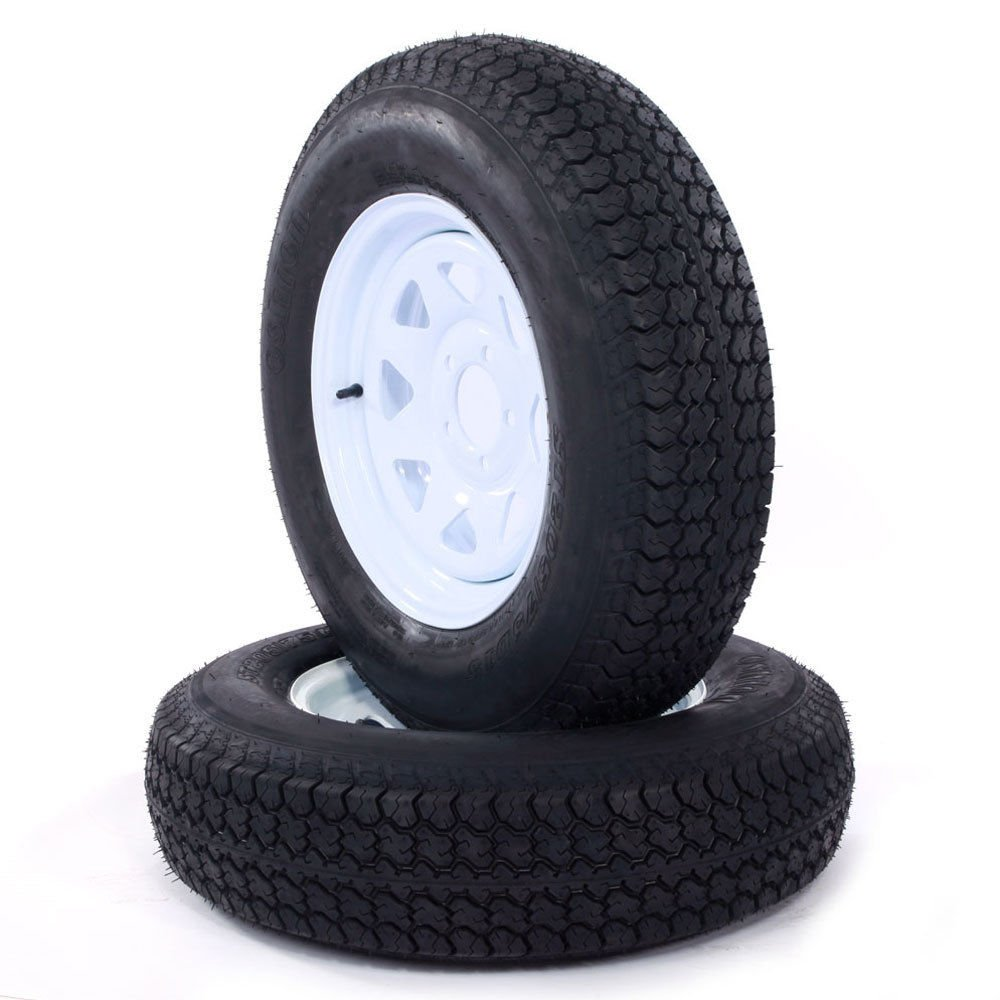 Set of 2 15'' White Spoke Trailer Wheel with Bias ST205/75D15 Tire Mounted (5x4.5) bolt circle by Roadstar (Image #3)