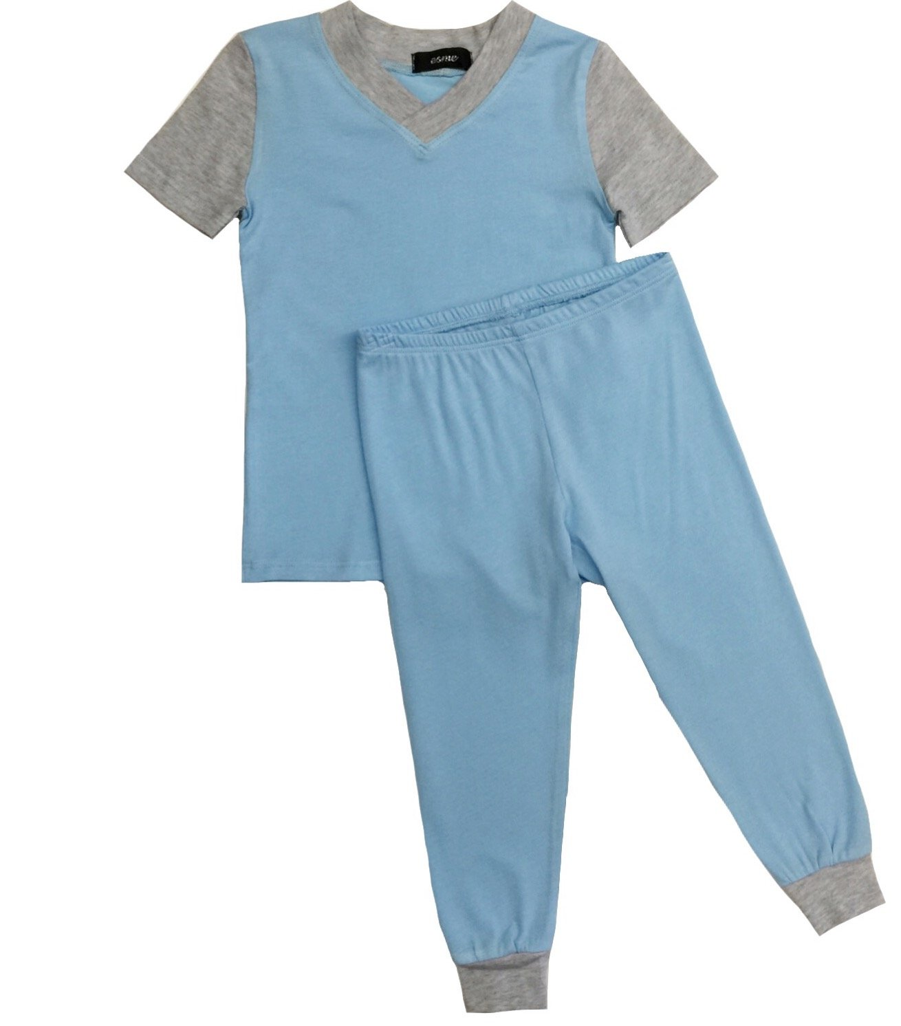 Esme Boys Pajamas Short Sleeve Top & Pant Set 8 Blue / Grey