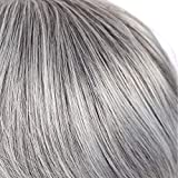 Short Grey Silver Wig for Woman Synthetic Natural