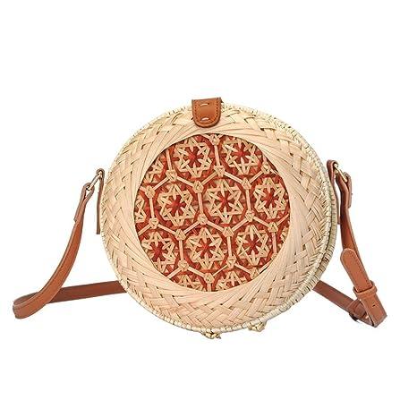 Bolsa redonda ratán bolsa de bolsa de playa redondo Mujer ...