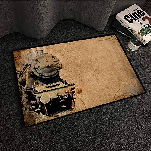 (Vintage Entrance Mat Steam Engine,Antique Old Iron Train Aged Sepia Grunge Style Design Industrial Theme Artsy Print,Brown,W30 xL39 Contemporary Indoor Area Rugs)