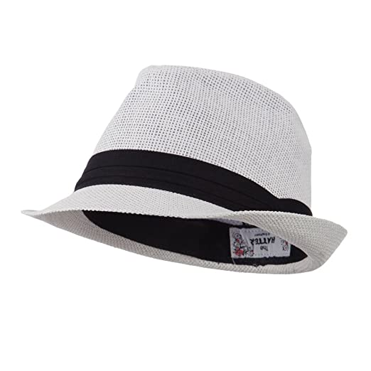 ab13ed1d5d0a31 Pleated Hat Band Straw Fedora Hat - White OSFM at Amazon Men's ...