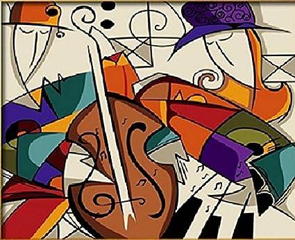 PaintingStudio Nina de dibujos animados tocar la guitarra Musica Pintura al oleo de DIY por el