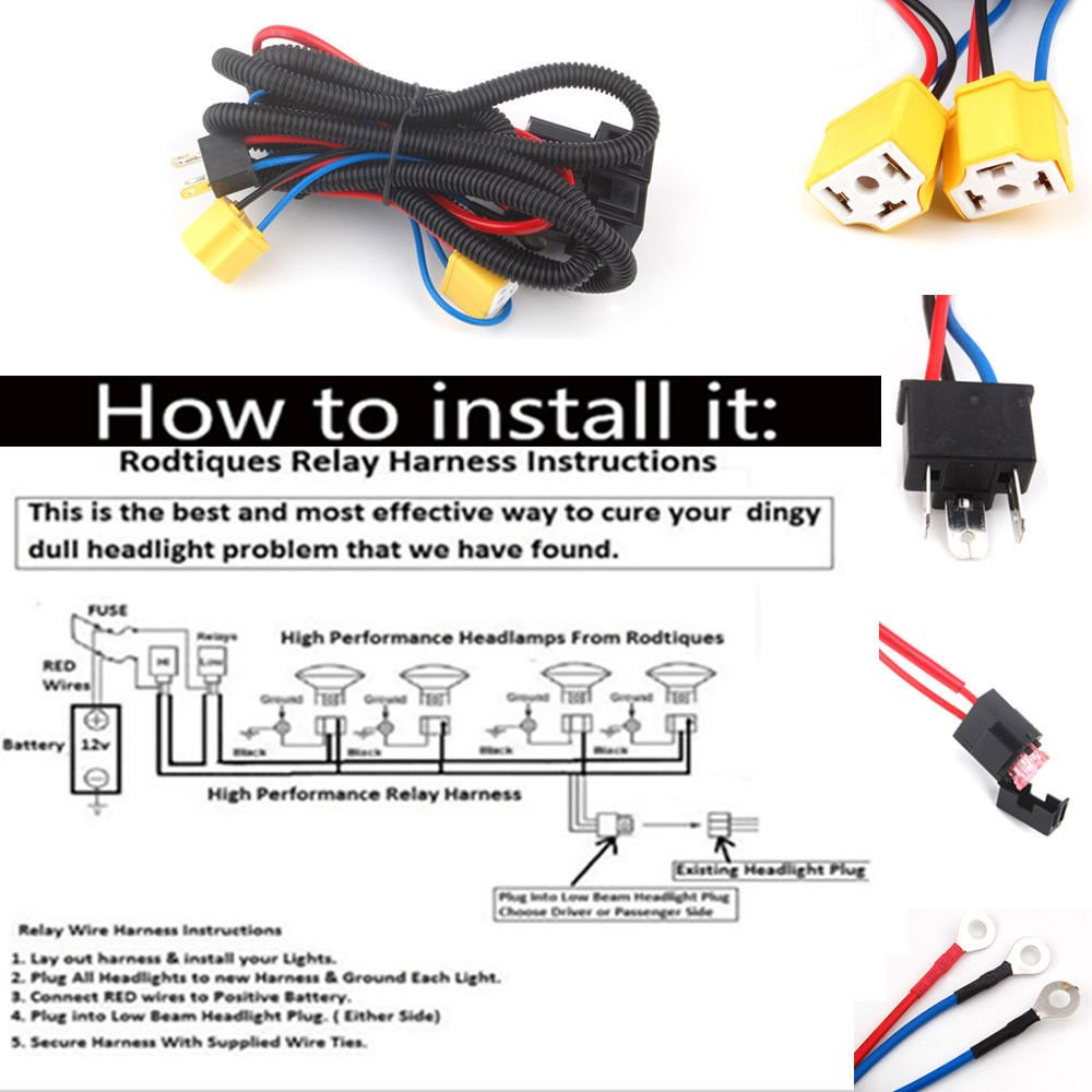 H4 Headlight Fix Dim Light Relay Wiring Harness System 2 Wire Headlamp Bulb Automotive