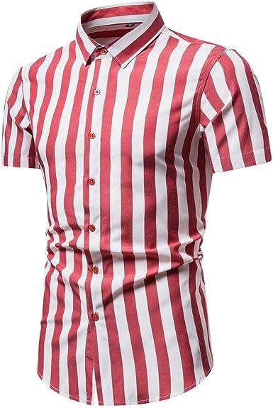 VANVENE - Camisa de manga corta para hombre con botones ...