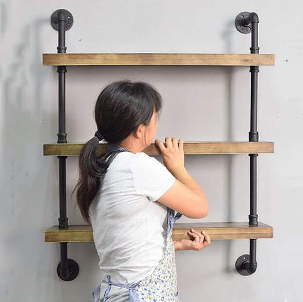 壁フレーム、鍛鉄製の木製の装飾の棚、多層の壁掛けディスプレイスタンド、創造的な本棚の壁掛け、靴の店の靴のラック (Color : A, Size : L80*W25*H90CM) B07SRR9KD9 A L80*W25*H90CM