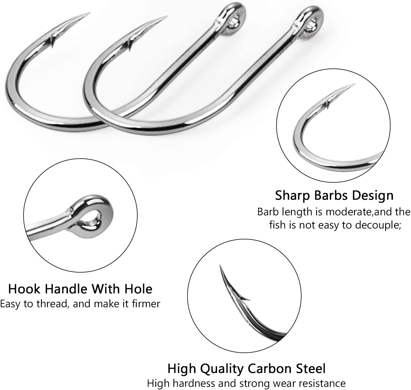 NAS HIGH CARBON EXTRA STRONG FULL CIRCLE HOOKS ALL SIZES SEA FISHING TACKLE