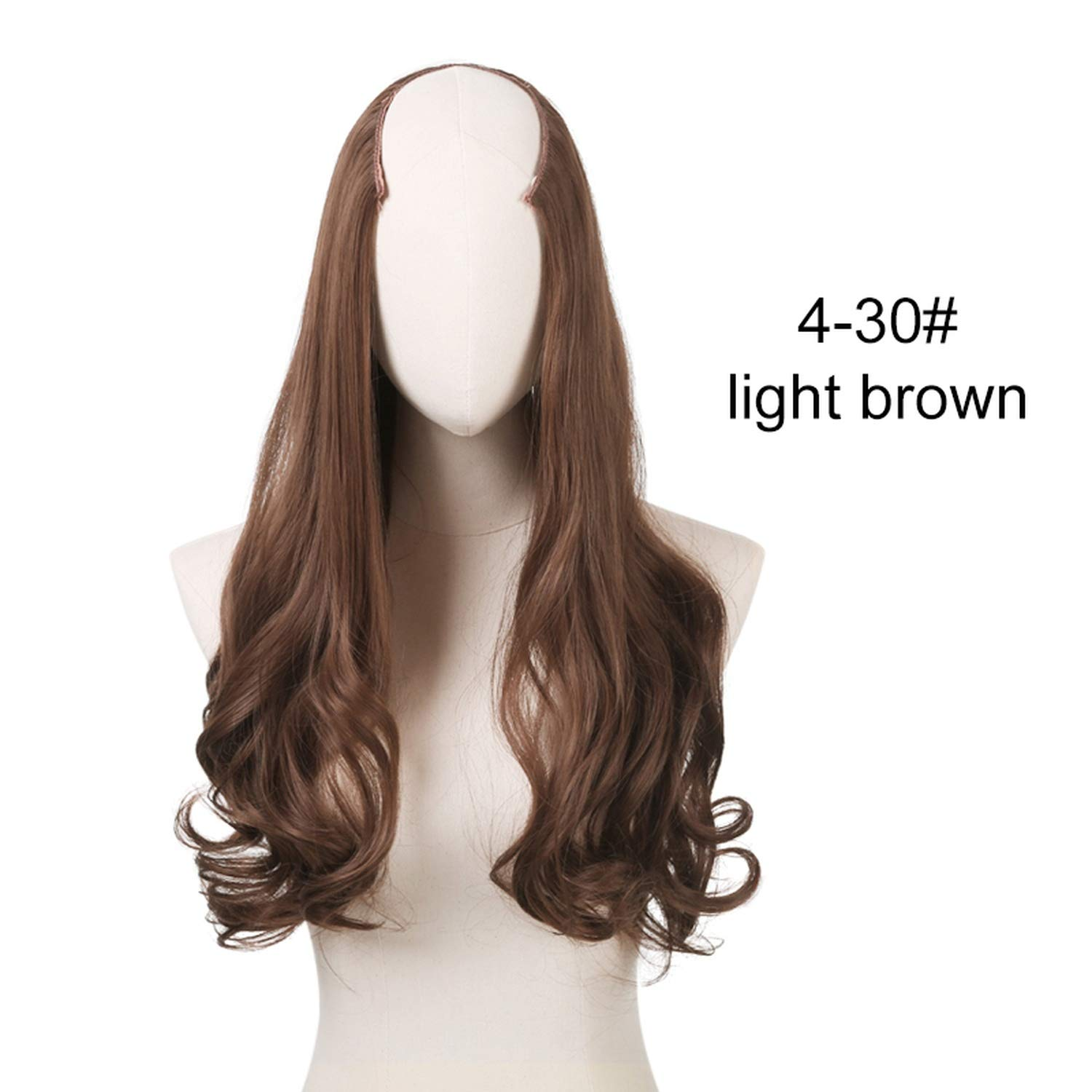 Full Head U-Part Hair Extension Clip In Curly Natural Hairpieces Heat Resistant, Copper Auburn, 24inches Warm Space