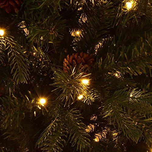 Goplus 7.5Ft Pre-Lit Artificial Christmas Tree Premium Spruce Hinged Tree w/ 540 LED Lights & Pine Cones by Goplus (Image #4)
