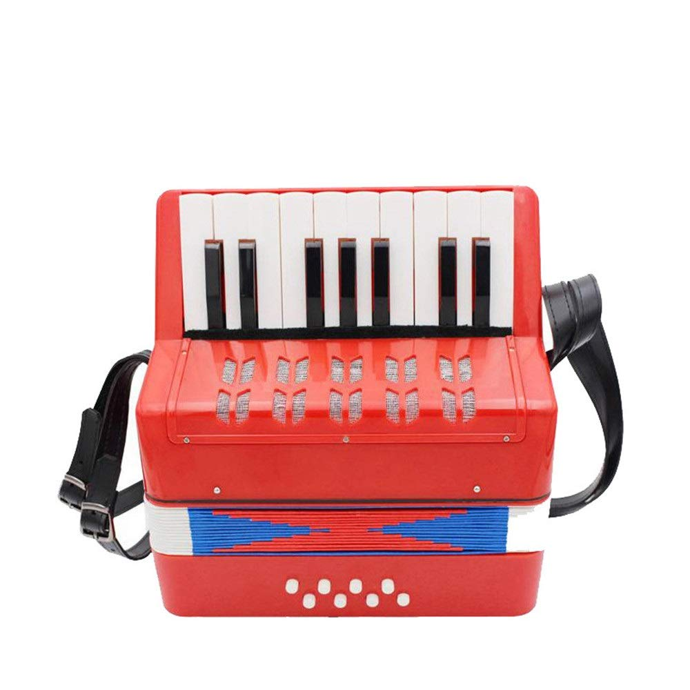 Sunsamy Accordion, Mini Size Kids Piano Accordion with Straps 17 Keys 8 Bass Music Instruments for Beginners Students Small Educational Instrument Band Toy Children's Gift Musical Toy Instruments