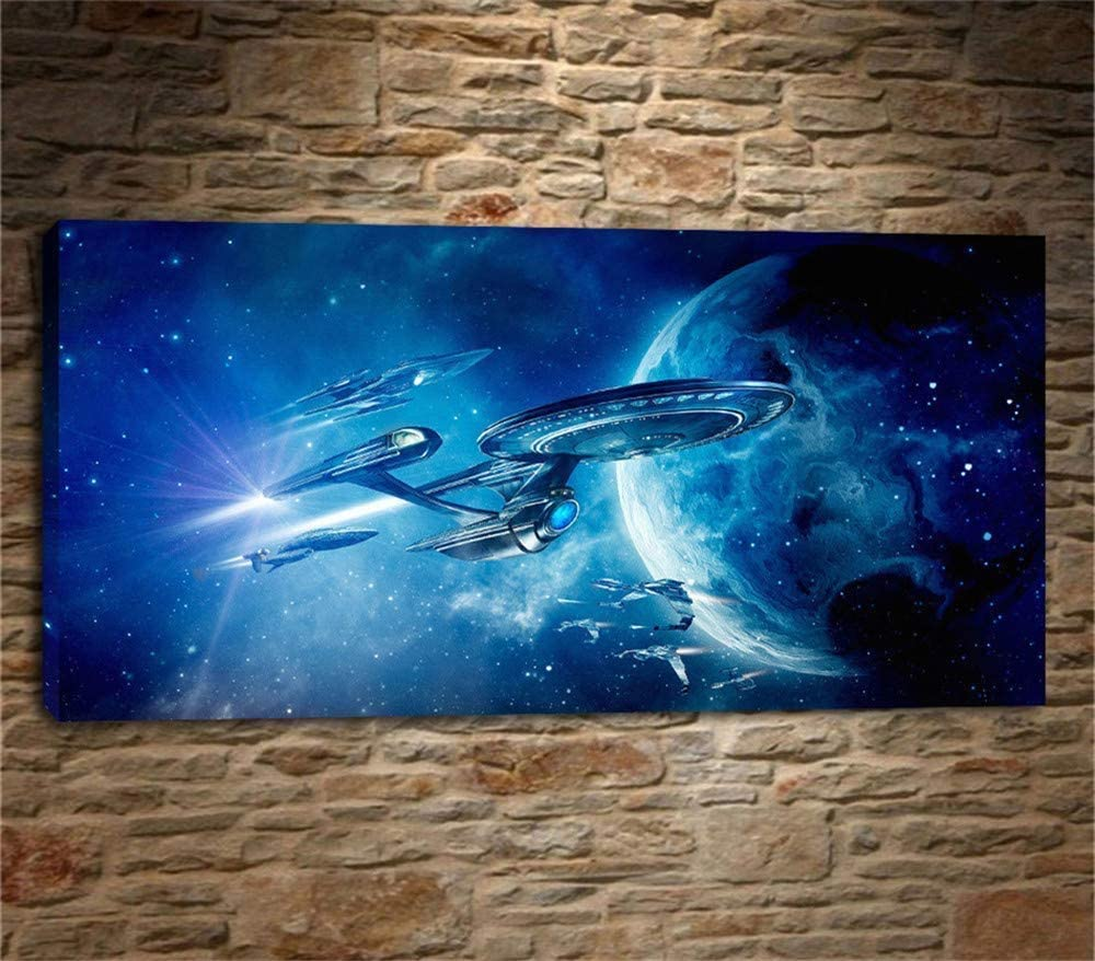 Star Trek Beyond, Canvas Prints Artwork Modern Painting on Canvas Wall Art for Home Office Decoration (Framed,12x24 inch)