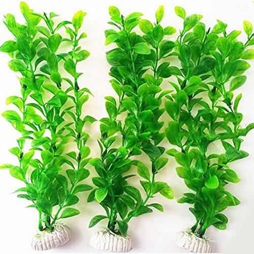 Set Aquarium Fish Plants (WAF Aquarium Fish Tank Green Plastic Artificial Plants 10.6 inch High Set of 3Pcs)