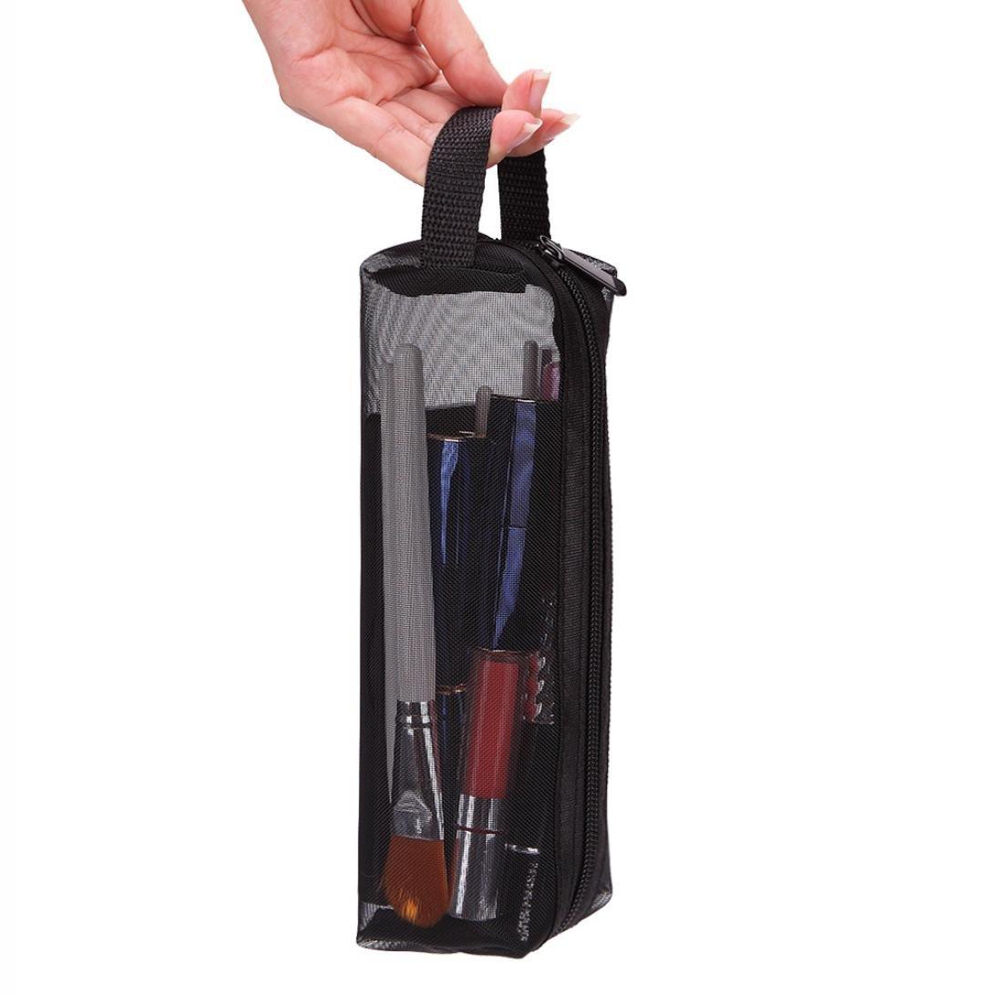 Staron Portable Travel Makeup Bag Women Zipper Beauty Cosmetic Bag Toiletry Storage Case Multifunction Makeup Pouch (Black)