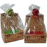 Confezione da 10 sacchetti trasparenti in cellophane - Cestini porta ceste regalo - Confezioni regalo - Sacchetti dolci - (Taglia piccola = 31x27x80cm alta)