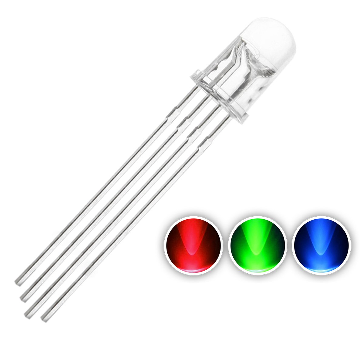 Chanzon 100 Pcs 5mm Rgb Led Diode Lights Tricolor Tricolorledcircuitjpg Multicolor Red Green Blue 4 Pin Common Cathode Clear Dc 20ma Color Super Bright Lighting