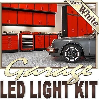 Biltek 6' ft Warm White Garage Tool Shed Deck LED Lighting Strip + Dimmer + Remote + Wall Plug 110V - Workbench Tool Box Roof Shed Truck Bed Home Gym Lamp Waterproof 3528 SMD Flexible DIY 110V-220V