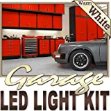 Biltek 16.4' ft Warm White Garage Tool Shed Deck LED Lighting Strip + Dimmer + Remote + Wall Plug 110V - Workbench Tool Box Roof Shed Truck Bed Home Gym Waterproof 3528 SMD Flexible DIY 110V-220V
