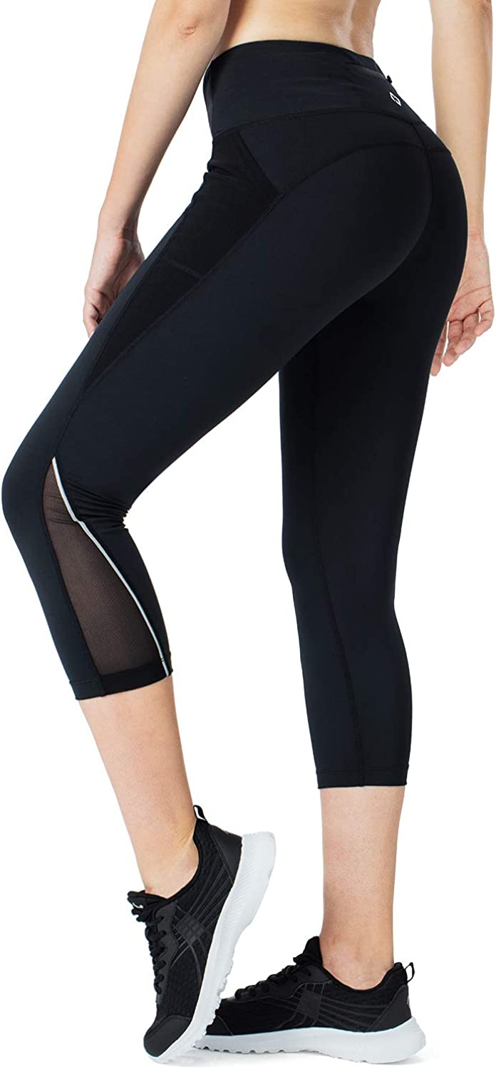 Naviskin Women's Workout Capris Leggings 7/8 Yoga Cycling Running Tights with Side Pockets