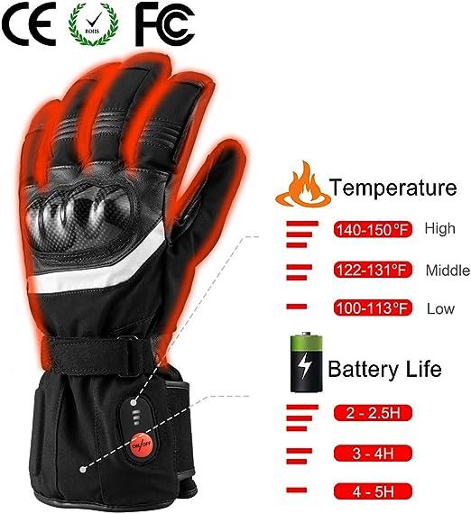 BARCHI HEAT 12V 7.4V Hard Knuckle beheizte Handschuhe elektrischer Akku Auto Motorrad Aufladen beheizter Handschuhe f/ür Schnee Skifahren Eislaufen Reiten Motorrad