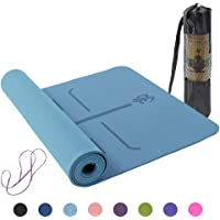 Lixada Yoga Mat, Pilates Mat Non Slip TPE Oefening Mat met Draagband en Opbergtas voor Workout Fitness Gym Yoga 182,9 x…