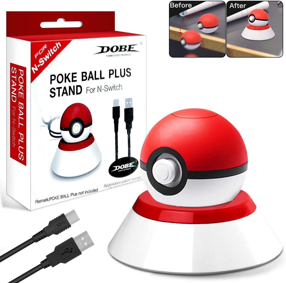 Soporte cargador para controlador Pokeball Plus, soporte de carga con cable de carga USB compatible con Poke Ball Plus para Switch, Lets Go Pikachu Lets Go Eevee Game Controller y Poké Ball