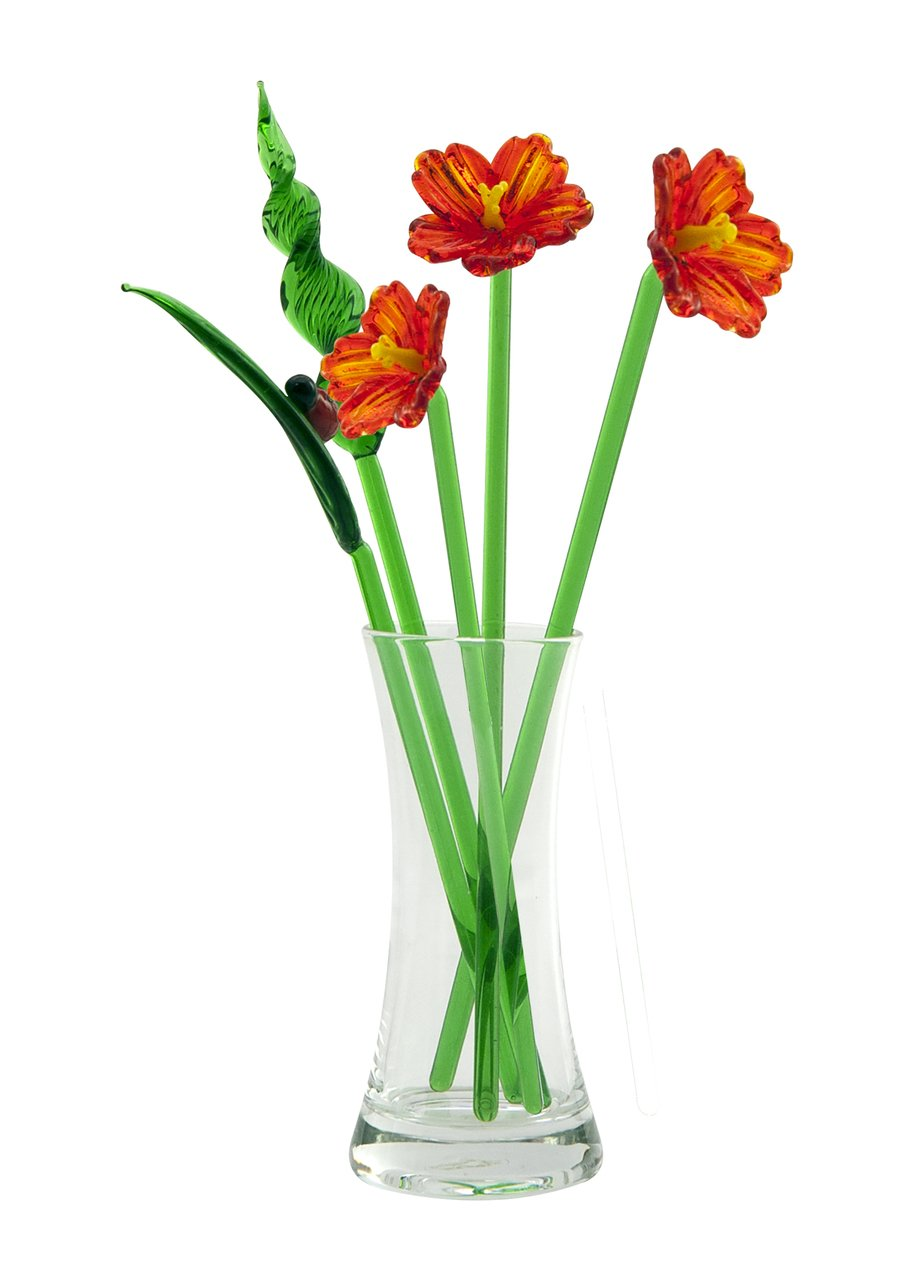 Bird of Paradise Hand Blown Glass Flower Set - Includes Vase and Leaves with Red Ladybug Global Village
