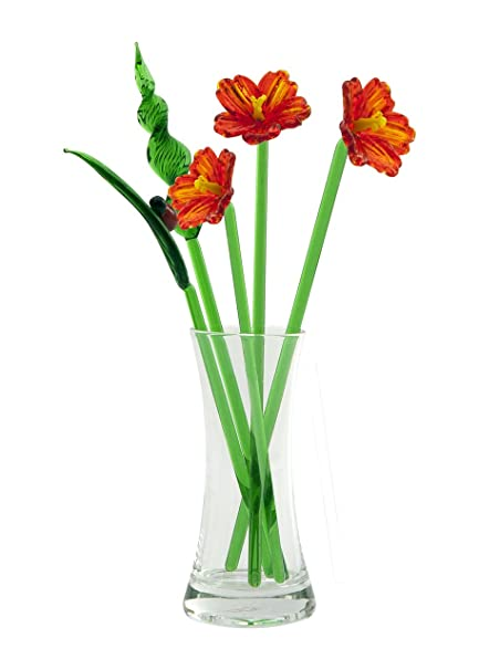 Amazon Hibiscus Hand Blown Glass Flower Set Includes Vase And