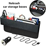 Nekrash Car Seat Side Box with 2 USB Chargers, Seat Side Catcher Multi-Compartment, Car Storage Organizer for Mobile Phones, Keys, Cards, Wallets, Coins Black (Black)