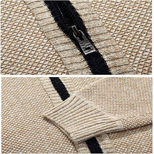 uomo Collar High Vintage Huixin Cashmere Cotton Classic Warm Coat Sweater Cardigan Beige Knit da Coat Winter nwtYq8tz