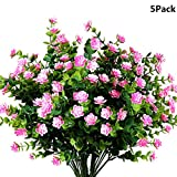 Y wang 5Pack Artificial Flowers Outdoor UV Resistant Plants Shrubs Fake Bushes Greenery for Indoor Outdoor Decor(Pink)