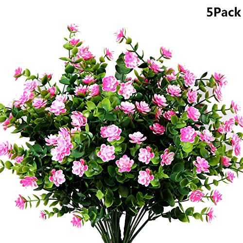 Y wang 5Pack Artificial Flowers Outdoor UV Resistant Plants Shrubs Fake Bushes Greenery for Indoor Outdoor Decor(Pink) by Y wang