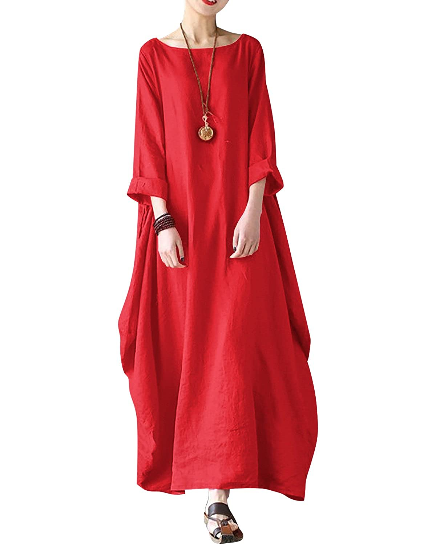 c1d5e457e5 Top2  Bohistyle Women Summer Plus Size Striped Batwing Linen Cotton Loose  Kaftan Casual Dress