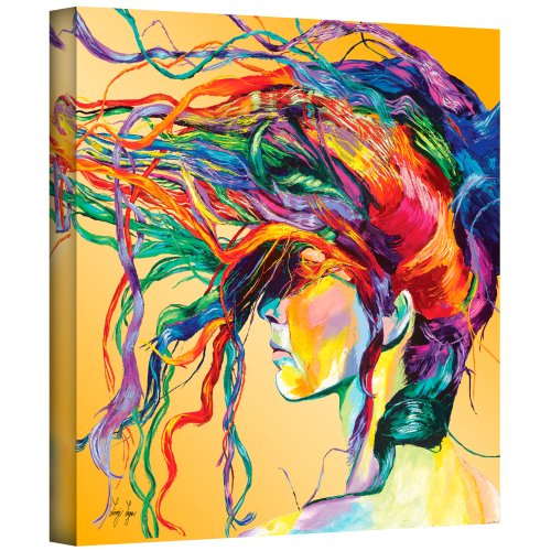ArtWall Windswept by Linzi Lynn Abstract Canvas Wall Art, 36X36, Colorful Contemporary Picture for Salon, Bedroom, Bathroom and Living Room Decor