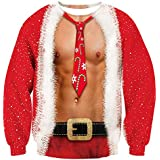 RAISEVERN Mens Ugly Christmas Sweater Funny Muscle Design Fake 2 Pieces Pullover Sweatshirt Red 1 2017 Style No.3(fake 2 Pieces) XX-Large