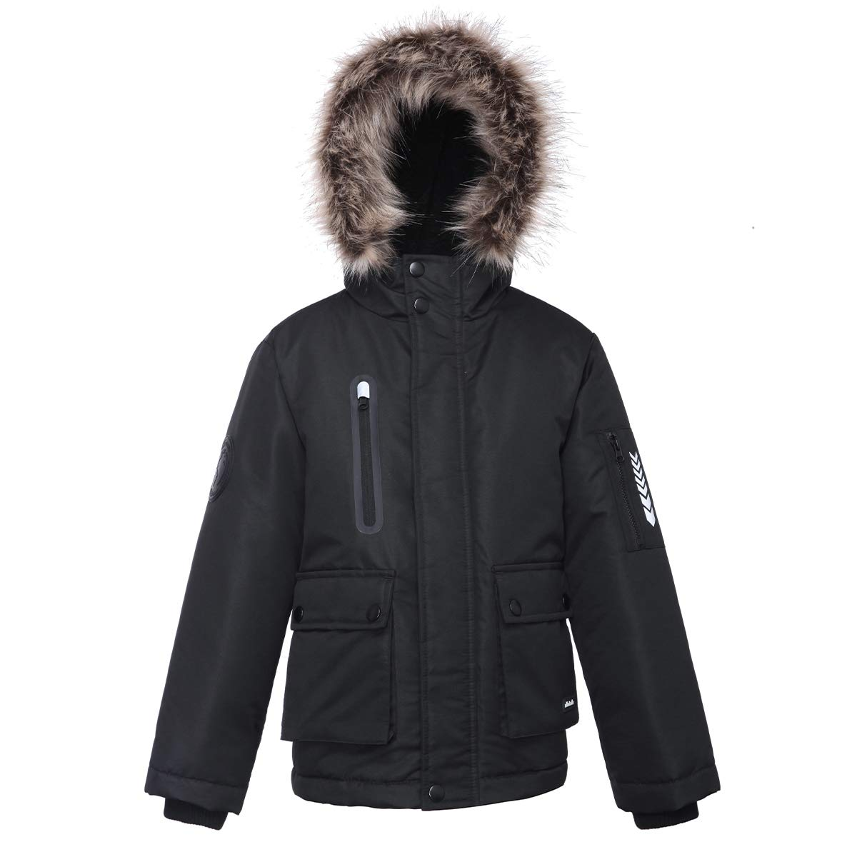 Rokka& Rolla Boys' Water-Resistant Hooded Thickened Parka Jacket Removable Faux-Fur Hood Trim
